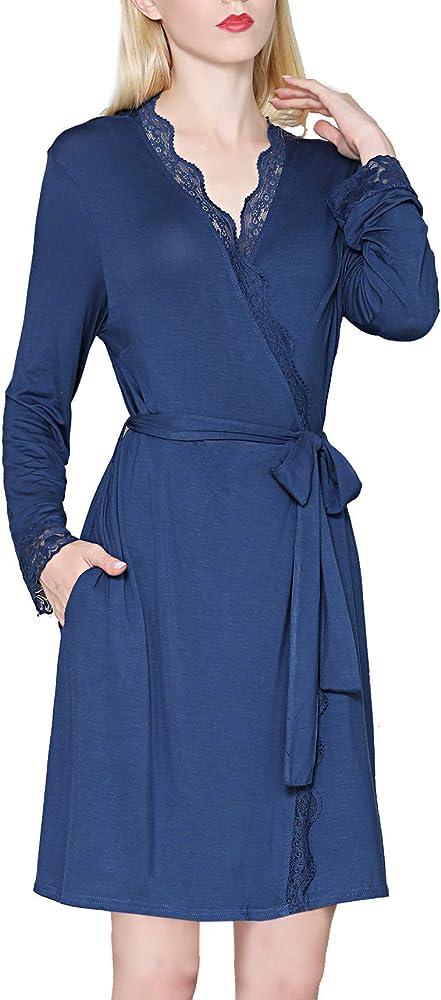 KOWENTIK Pijamas Mujer Ropa de Dormir Batas Kimono Negro (Azul, S): Amazon.es: Ropa y accesorios