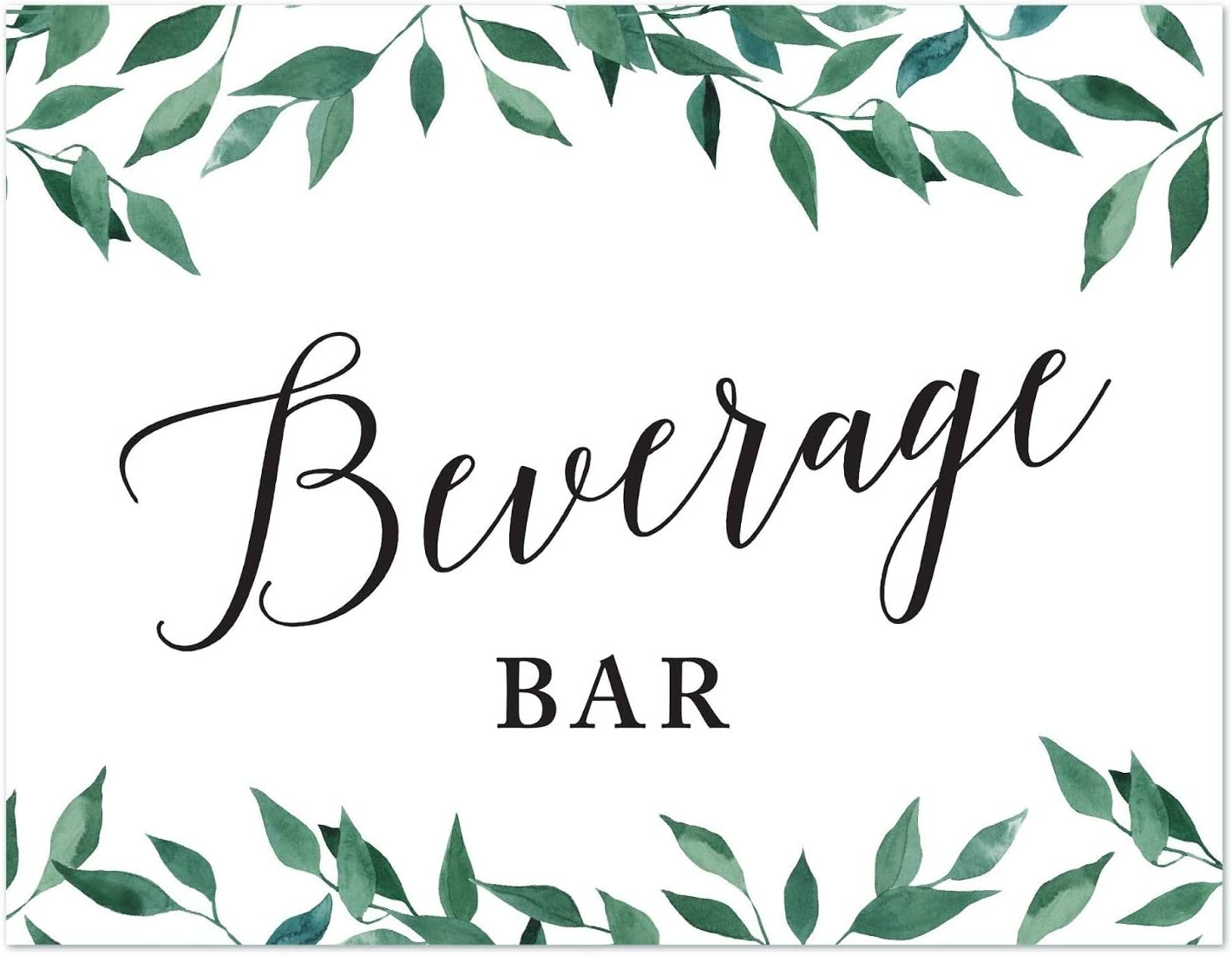 Andaz Press Wedding Party Signs, Natural Greenery Green Leaves, 8.5x11-inch, Beverage Bar, 1-Pack