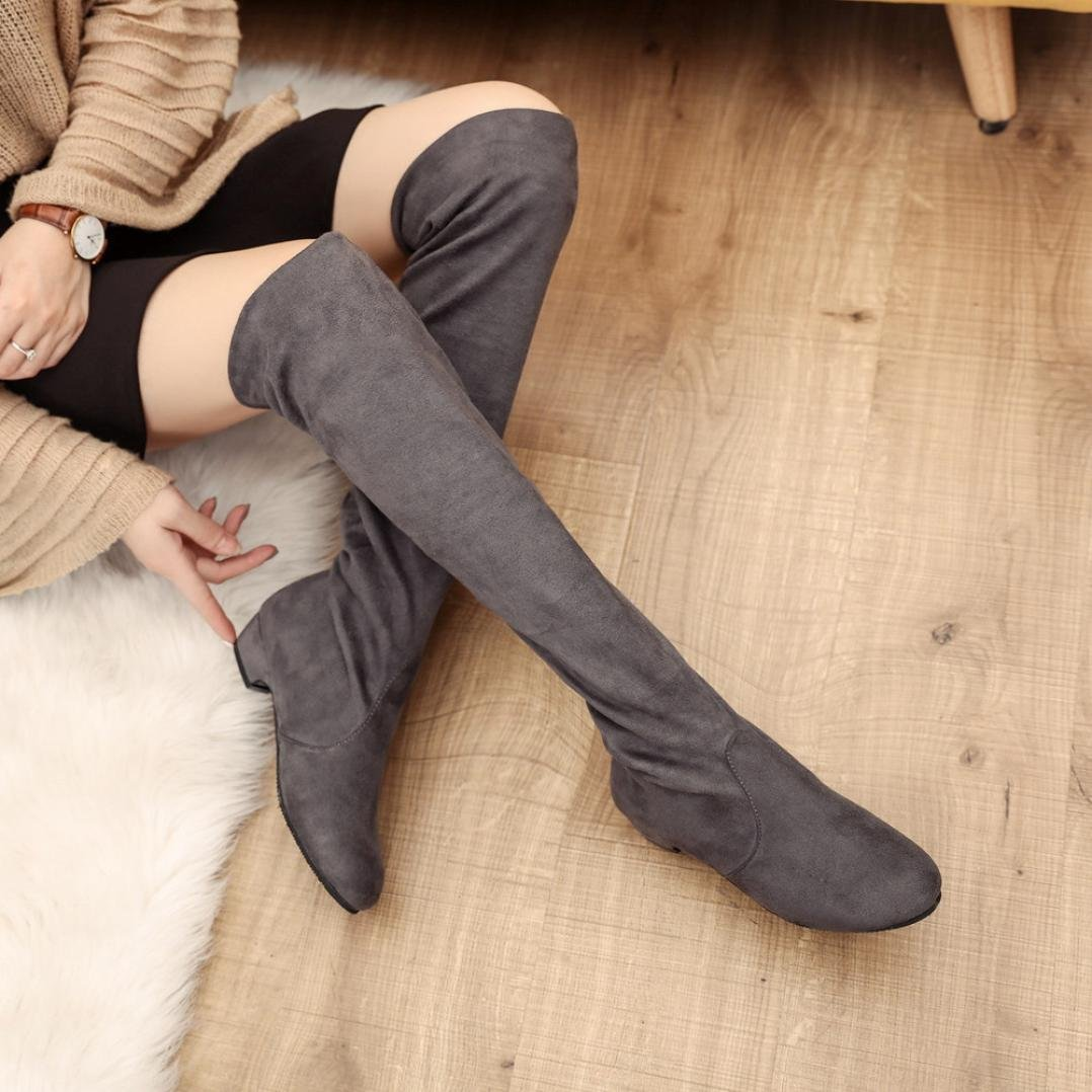 Fheaven Women Winter Autumn Flat Boots Shoes High Leg Slouchy Suede Over The Knee Long Boots (US:8, Gray)