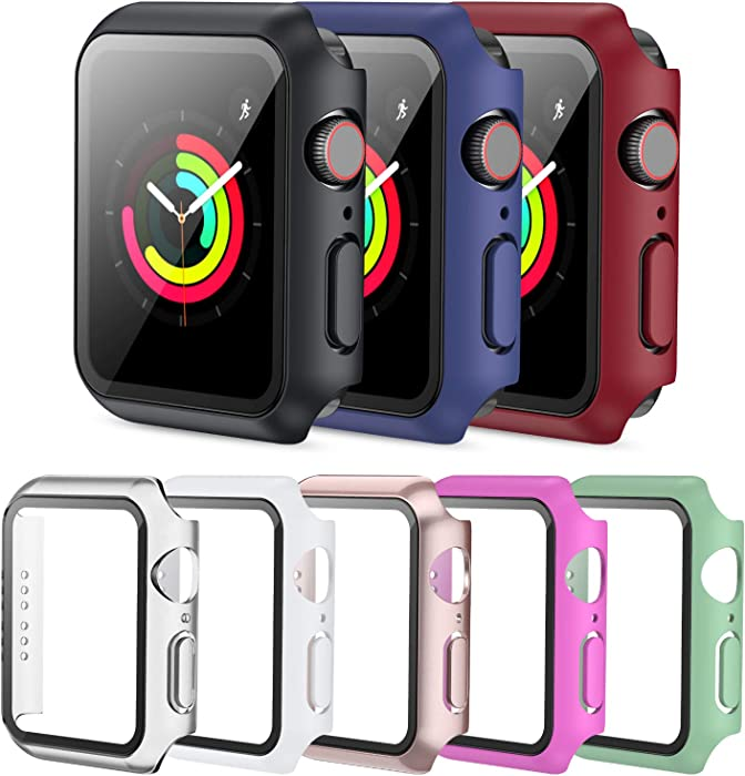 PLWENST 8 Pack Screen Protector Case Compatible with Apple Watch 42mm Series 3/2/1, Full Hard PC Ultra-Thin Scratch Resistant Bumper HD Protective Watch Cover for Women Men iWatch Accessories