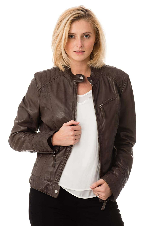 Leather Lifestyle Womens Lambskin Genuine Leather Jacket Slim Fit Biker Motorcycle Stylish Coat #WJ81