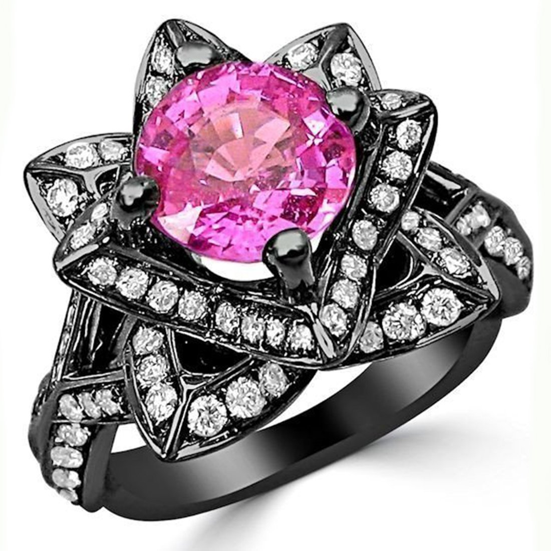 Smjewels 2.0 Ct Round Pink Sapphire & Sim.Diamond Lotus Flower Ring In 14K Black Gold Plated