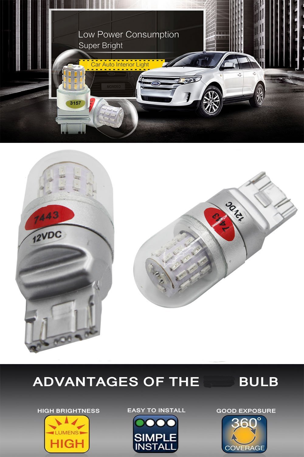 Replacement for Tail Brake Light LED Bulb AMAZENAR 2-Pack 7440 7441 7443 7444 Red 9V-30V Extremely Bright 600 Lumens 3014 144 SMD LED with Projector