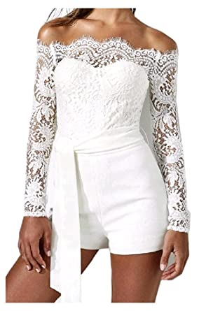9e1b9fa85816 Zimaes-Women Lace Line Long Sleeve Strappy Hollow Out Slimming Cold  Shoulder Sexy Playsuit Shorts
