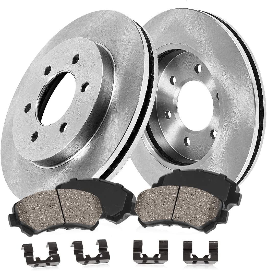 Brake Rotors + Clips CRK12474 4 FRONT 350mm Premium OE 6 Lug Ceramic Brake Pads Akebono FRONT Caliper Models 2