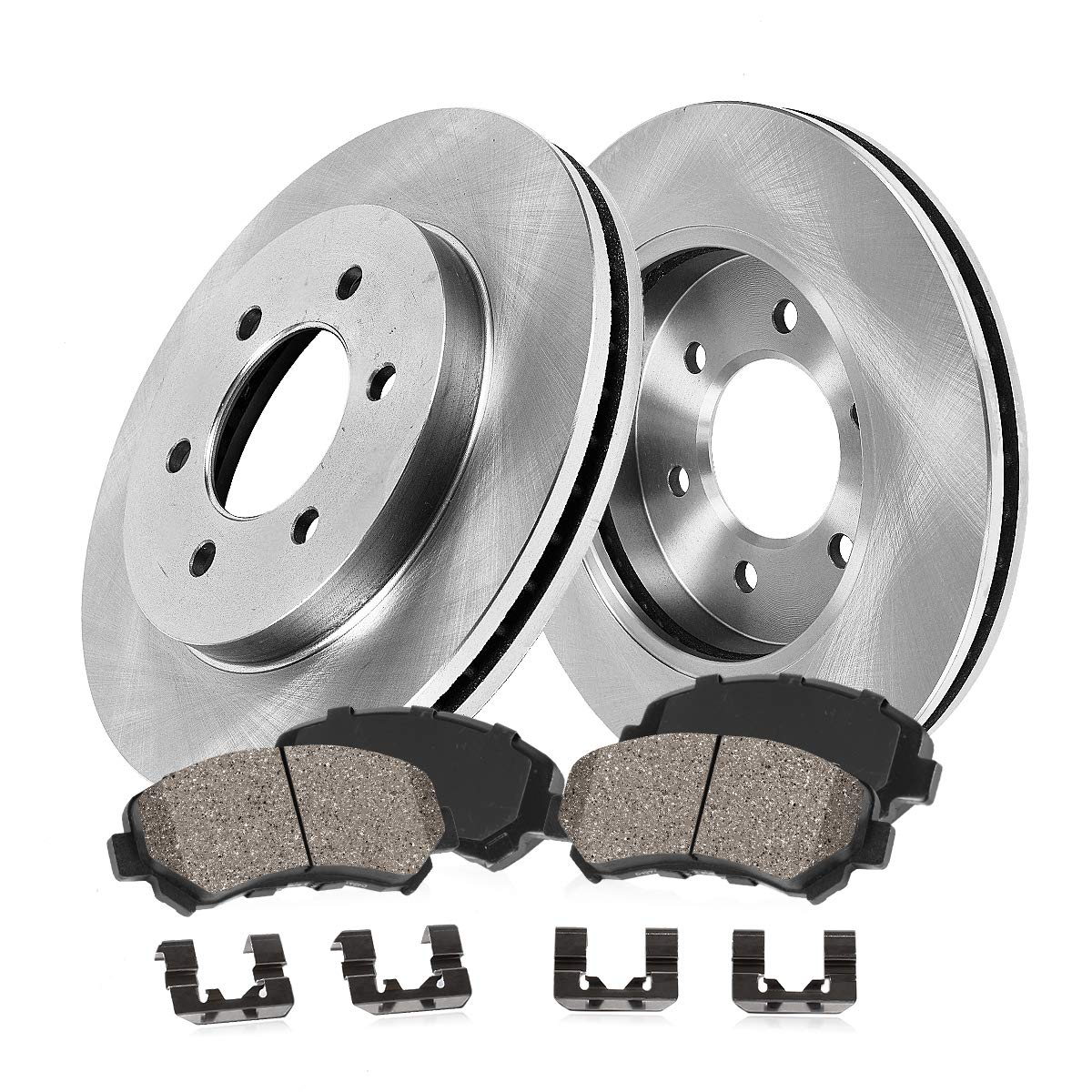 FRONT 287 mm Premium OE 6 Lug 2 Brake Disc Rotors + Pickup SUV Series Ceramic Brake Pads 4 Clips