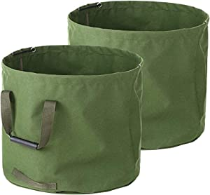 33 Gallon Garden Bags 2-Pack Heavy Duty Reusable Yard Leaf Bag Holder Collapsible Canvas Portable Yard Gardening Waste Bag with Handles (H18 in, D22 in)