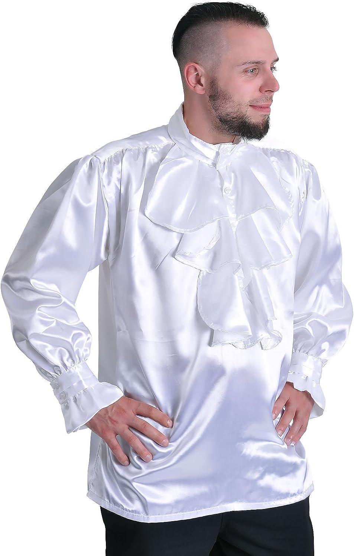 Elbenwald Rizado Blanco Camisa Atuendo Medieval Noble Camisa de satén con Las Colmenas/Chorrera de Cuello Alto - XL: Amazon.es: Ropa y accesorios