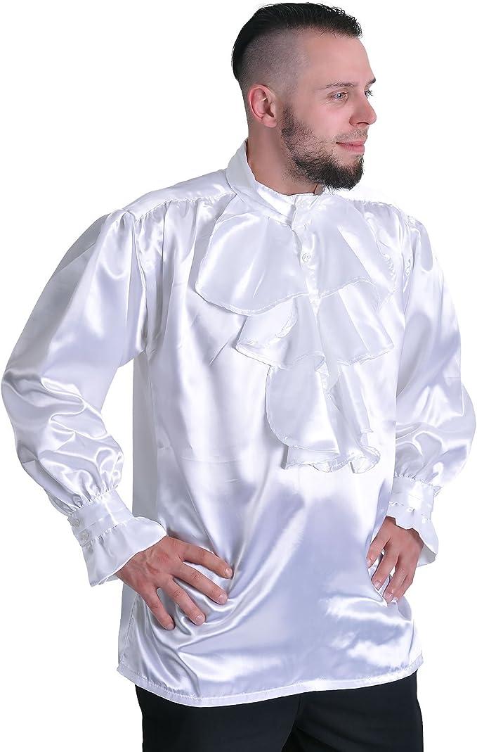 Rizado Blanco Camisa Atuendo Medieval Noble Camisa de satén con Las Colmenas/Chorrera de Cuello Alto - M: Amazon.es: Ropa y accesorios