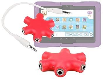 DURAGADGET Divisor De Auriculares Rojo para La Tablet ...