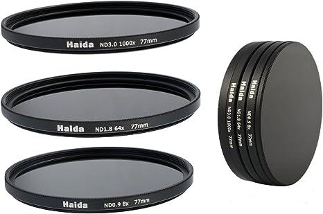 ND64 Ensemble de filtres gris de filtres ND8 ND1000 de 77 mm y compris un conteneur de filtres avec un dispositif de protection des filtres et des bouchons d/'objectif Pro de 77mm