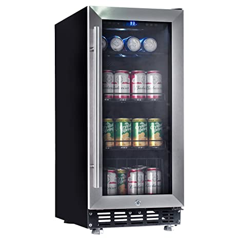 Lanbo 15 Beverage Refrigerator 80 Cans Small Compressor Beverage Cooler With Stainless Steel Glass Door Safty Lock And Digital Memory Touch Control