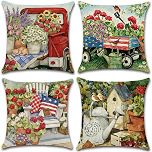 NEJLSD Throw Pillow Covers 18x18 inch Modern Decorative Cotton Linen Square Pack of 4 Throw Pillow Covers Cushion Case for Sofa, Bed, Car (Garden)