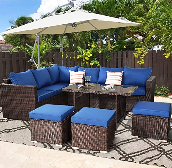 Outime Patio Furniture Garden 7 PCS Sectional Sofa Brown Wicker Conversation Set Outdoor Indoor Use Couch Set Royal Blue Cushion