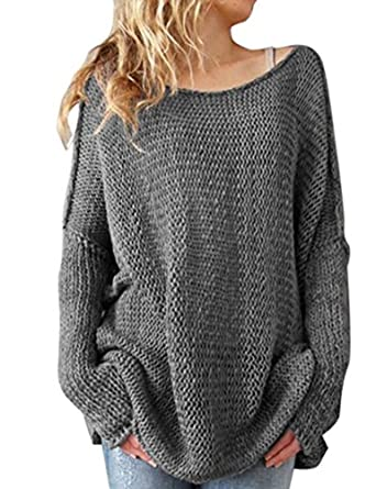 Shermie Women Oversized Knitted Sweater Long Sleeve Crew Neck Loose