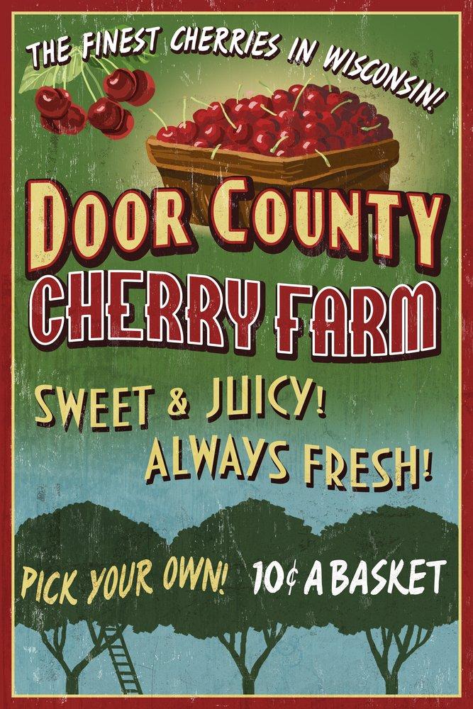 Door County, Wisconsin - Cherry Vintage Sign (9x12 Art Print, Wall Decor Travel Poster)