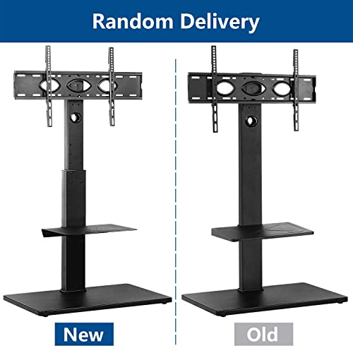 Rfiver Universal Swivel Floor TV Stand for Most 32 -65 LCD LED Flat Curved Screen TVs, TV and Media Shelf Height Adjustable, Sturdy Wood TV Mount Stand with Internal Cable Management, Black TF1001