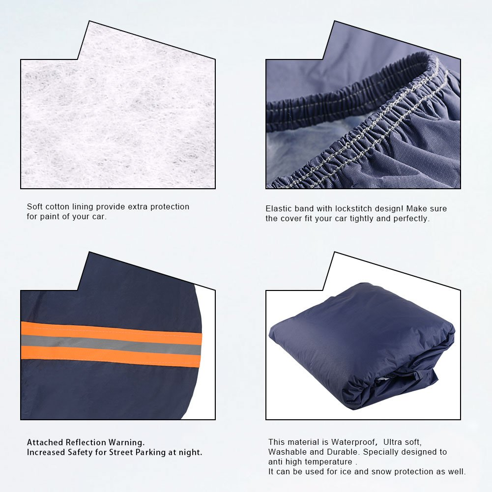 Blue Fits up to 208 inches YITAMOTOR Car Cover Universal Fit Breathable PEVA Outdoor Protector Waterproof Sun UV Snow Rain Dust Resistant