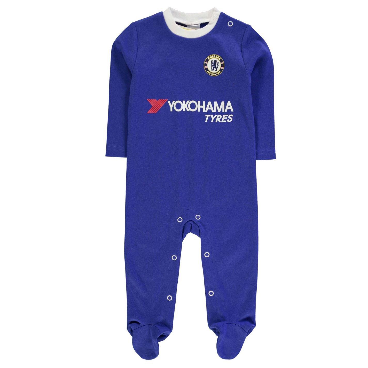 Team Kids Football Sleepsuit Baby Boys Cotton Long Sleeve Full Length Legs Top Chelsea 9-12 Mnth