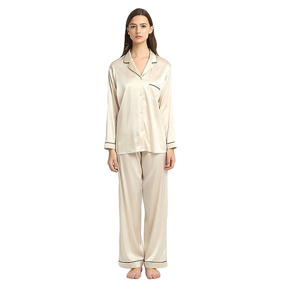 d6e0c3bb30 JASMINE SILK Ladies  Pure Silk Pyjamas Set Nude  Amazon.co.uk  Clothing