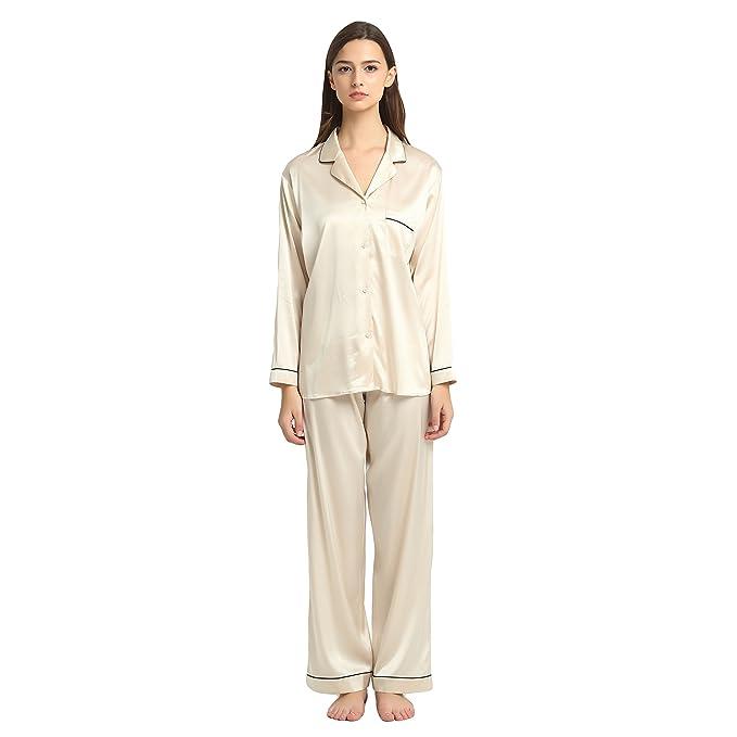 Jasmine Silk - Pijama para mujer, seda pura Beige color carne Small(10-