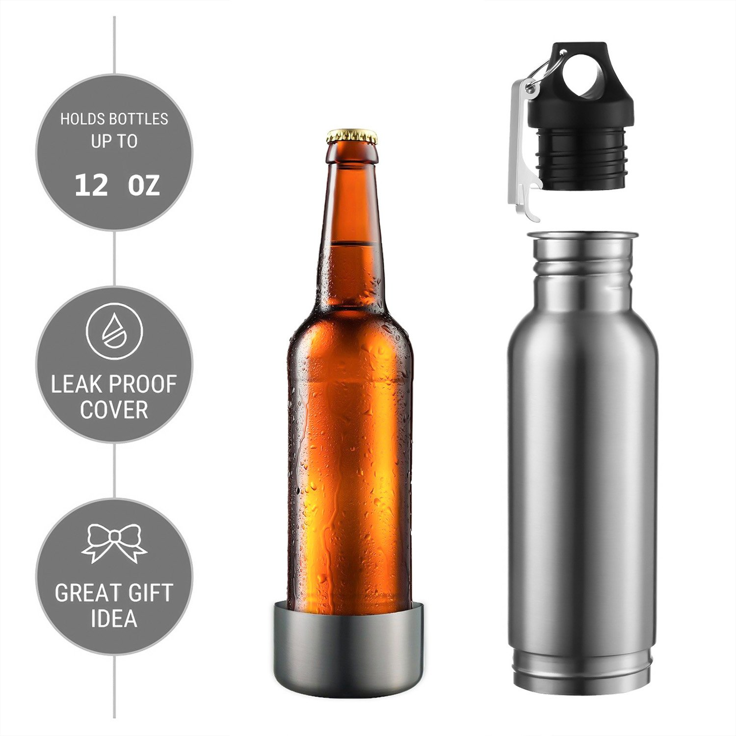 Fits 12 oz Bottles with Bottle Opener for Any Of Life Adventure Beer Bottle Cooler Universal Stainless Steel Cold Beer Keeper Armor Insulator Keep Beer Cold and Tasty Longer Red