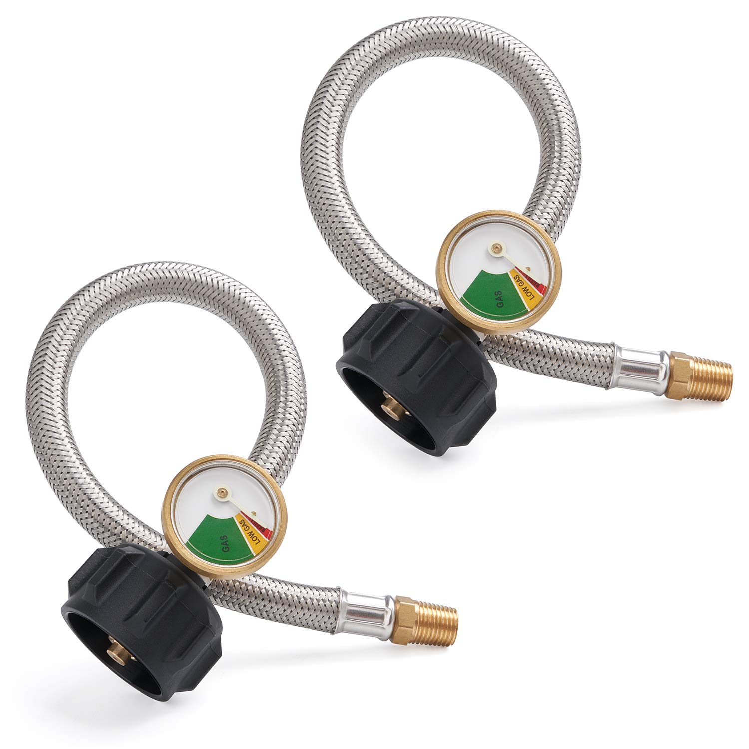 SHINESTAR 12-inch 1/4inch NPT RV Propane Hose with Gauge, Stainless Steel Braided RV Pigtail Hose Connector for Standard Two-Stage Regulator with 1/4inch Male NPT, 2 Pack by SHINESTAR