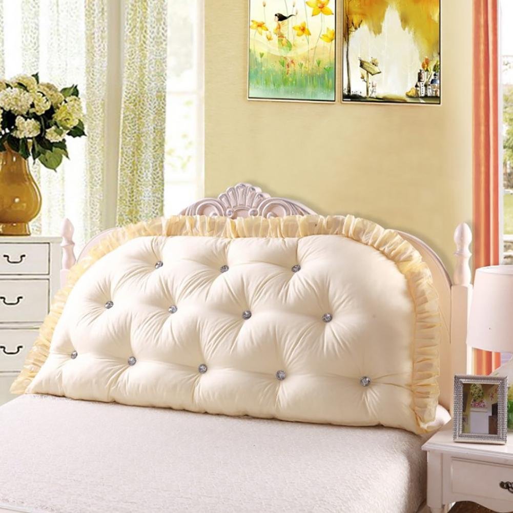 FLHSLY lumbar support cushions reading pillows bedside cushions sofa big backrest washable , beige , 180cm