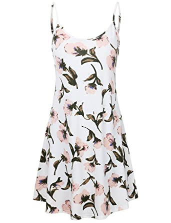 ad9c458f1a50c Amazon.com: HNNATTA Women's Casual Floral Printed Adjustable Strappy  Sleeveless Summer Swing Dress: Clothing