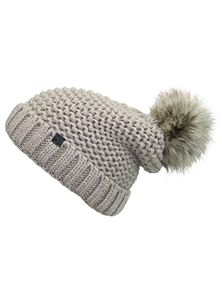 90a809003d22f Luxury Divas Taupe Winter Knit Beanie Hat with Faux Fur Pom Pom at Amazon  Women s Clothing store