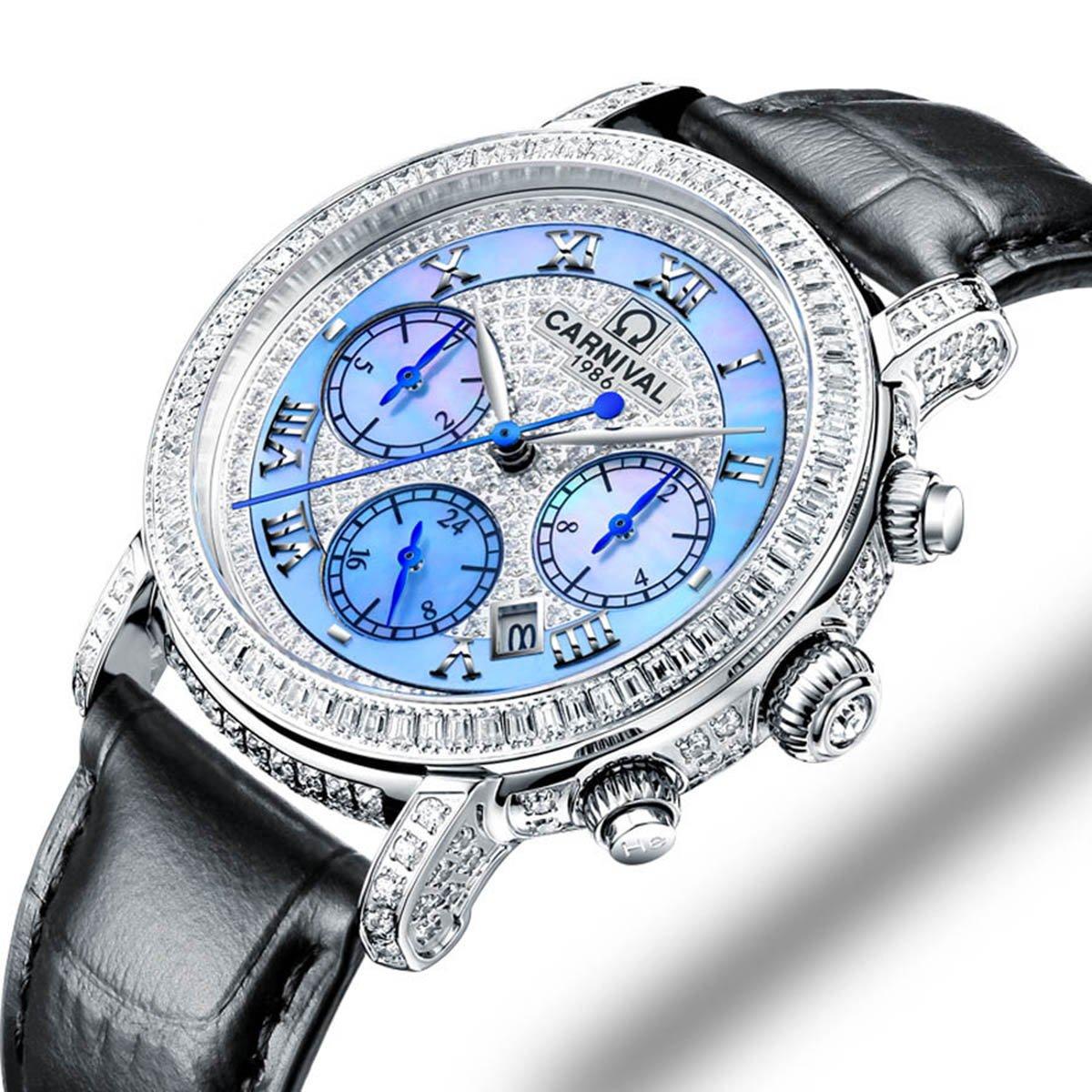Women 's Diamond Watch自動機械多機能ダイヤルと本革ストラップスイスWatches ブラック B07CG2FJGP ブラック ブラック