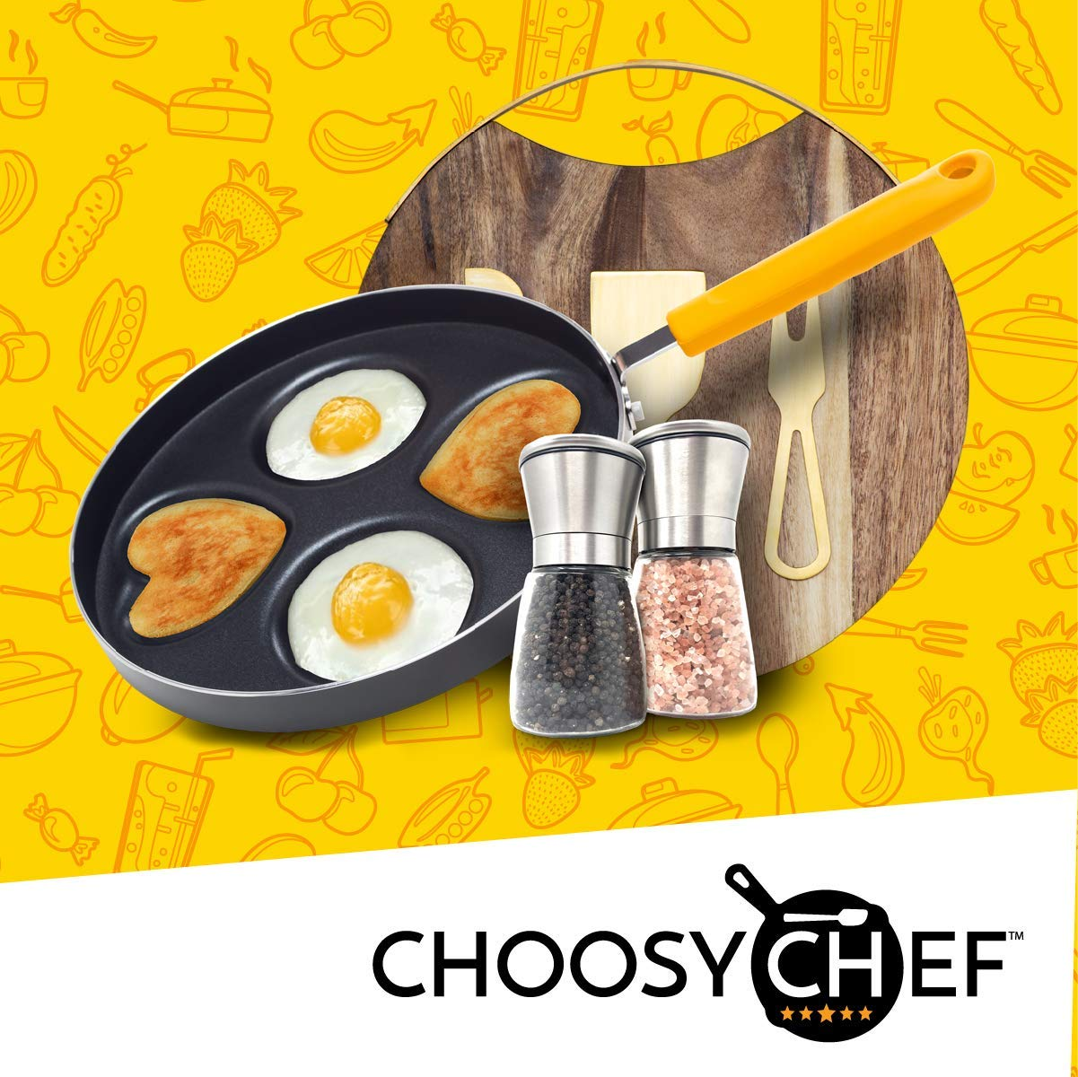 Happy Egg Pan by Choosy Chef - Nonstick 4-Cup Frying Pan, Spatula & Happy Egg Recipe Book Included by Choosy Chef (Image #5)