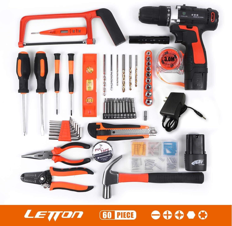 LETTON Werkzeugkoffer mit Akkuschrauber 60PCs Handwerkzeuge Kit mit Bohrschrauber Werkzeugset 16.8 V 1250 mAh 2 Li-ion Akkus