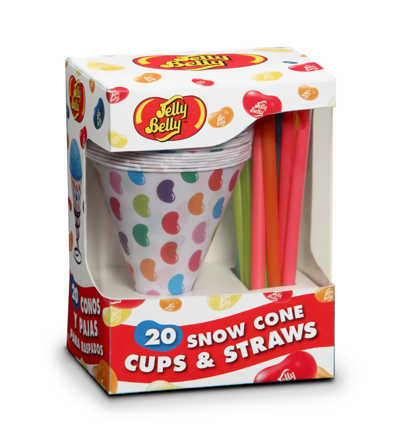 Jelly Belly JB15928 Disposable Snow Cone Cups and Straws, 20-Pack, Multicolored (Discontinued by Manufacturer)