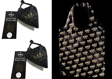 Marks and Spencer Pouch Shopping Bag for Life ~ 2 x M S Reusable Foldaway  Shopper  Amazon.co.uk  Kitchen   Home 19e82d3c9