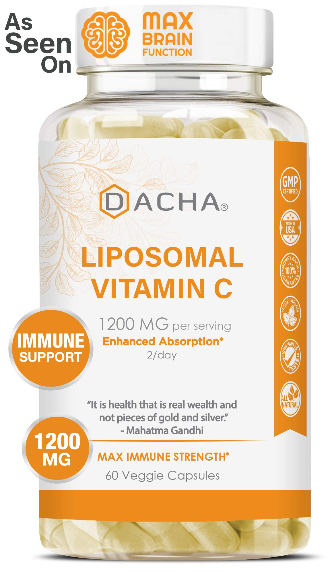 DACHA Nutrition Natural Liposomal Vitamin C - Buffered 1200mg Collagen & Immune System Booster, Anti Aging Skin Vitamins, Anti Inflammatory, Sodium Ascorbate, Sunflower Lecithin, Lypo Spheric by DACHA