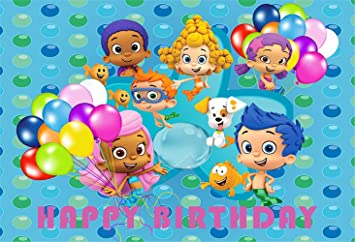 Amazon Com 7x5 Vinyl Background Backdrops For Photography Newborn Blue Background Little Mermaid With Balloons Bubble Guppies For Birthday Party Decor Camera Photo