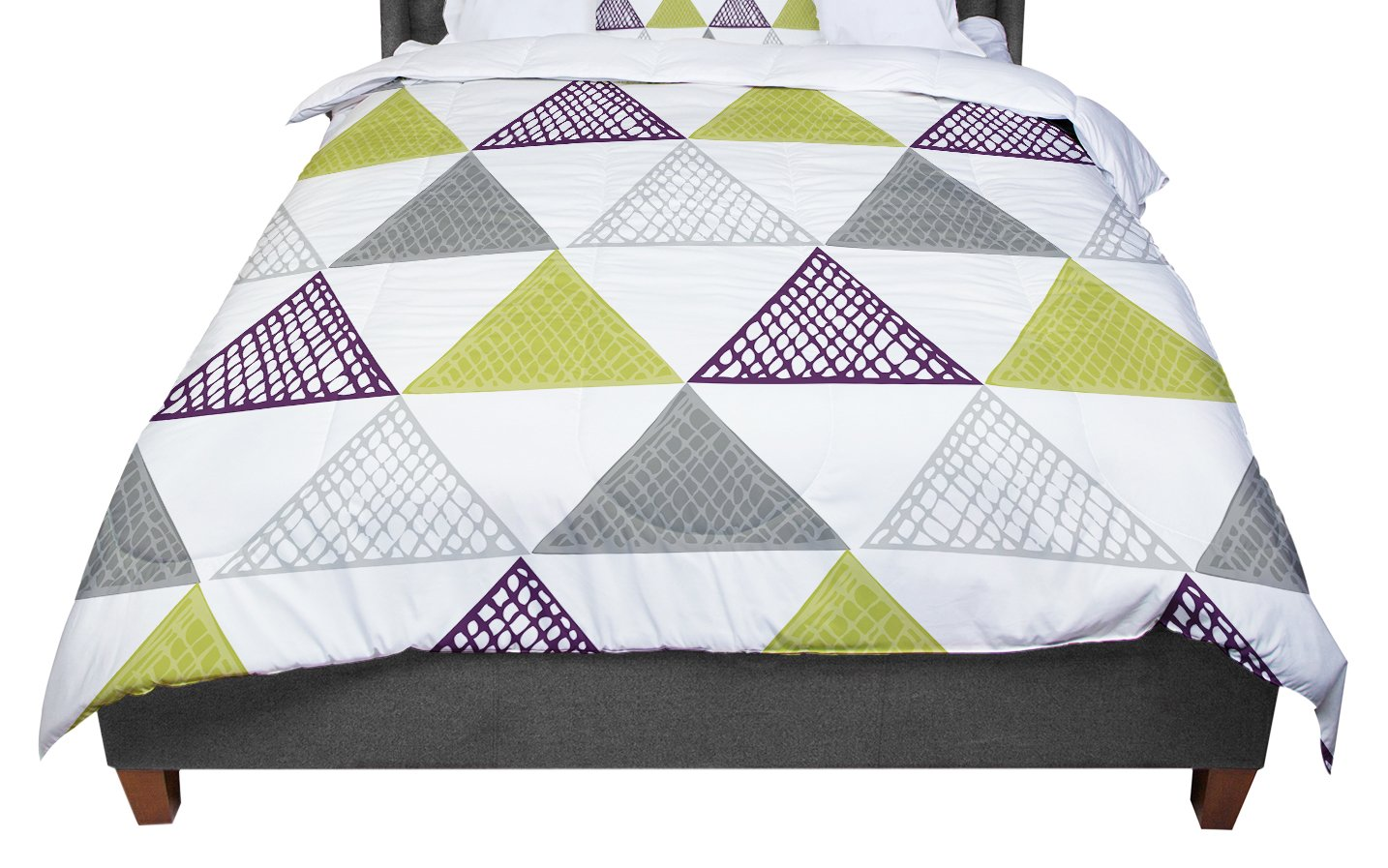 KESS InHouse Laurie Baars Textured Triangles Green Gray White Twin Comforter 68 X 88