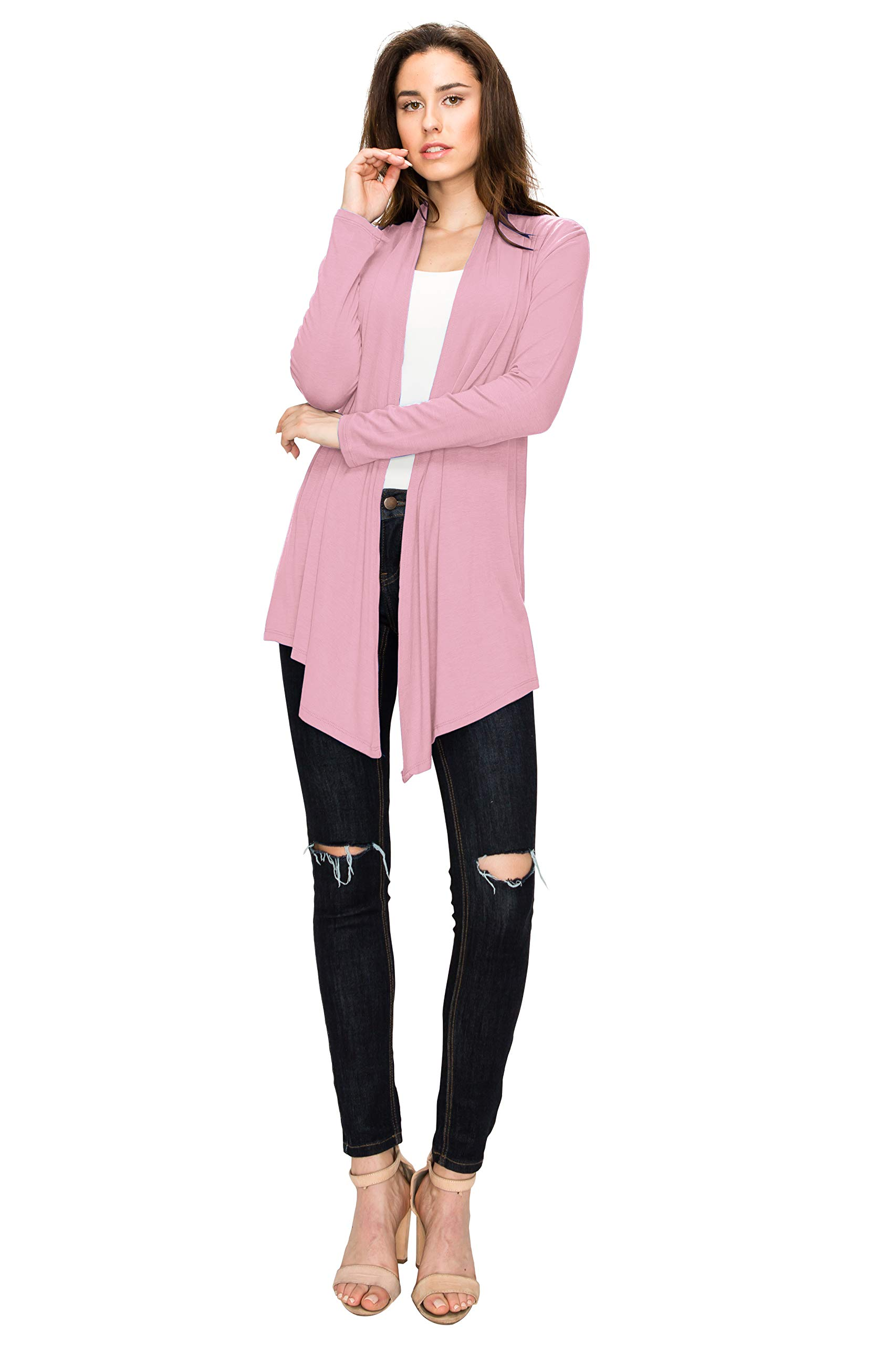 WSK850 Womens Draped Open- Front Cardigan XXL Pink by Lock and Love (Image #4)