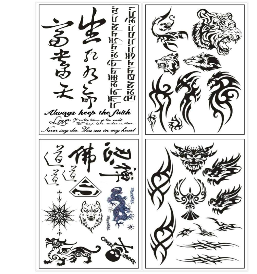 Kekemm Temporary Tattoos Tattoo Stickers Male Totem Wolf Flower Arm Tattoo Green Female Waterproof Long-Lasting Character Tattoo Stickers 4 Sheets by KEKEMM