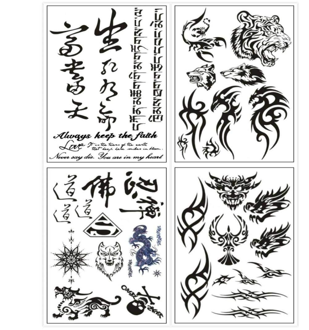Kekemm Temporary Tattoos Tattoo Stickers Male Totem Wolf Flower Arm Tattoo Green Female Waterproof Long-Lasting Character Tattoo Stickers 4 Sheets