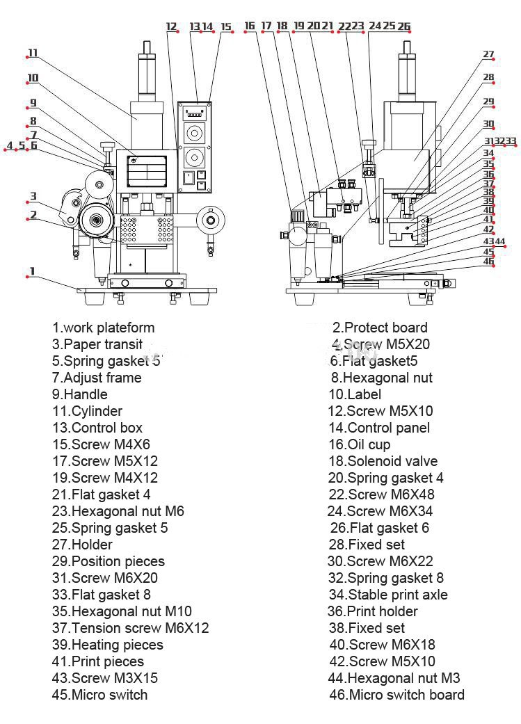 Huanyu InstrumentZY-819-B Pneumatic hot foil stamping machine Leather Logo printer Pressure words machine Name card stamping machine(stamping area:8090mm)