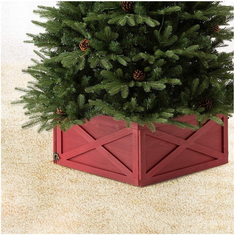 Amazon Com Glitzhome Washed Red Wooden Tree Collar Tree Stand Cover Christmas Tree Skirt Tree Box 22 L Home Kitchen