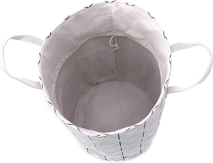 KOOBK Collapsible Laundry Baskets,Cactus Drawstring Large Laundry Hamper Storage Basket for Kids Room Cotton Linen Storage Bin with Lid,Toy Organizer,Gift Baskets,Bedroom,Baby Hamper 3545,Black