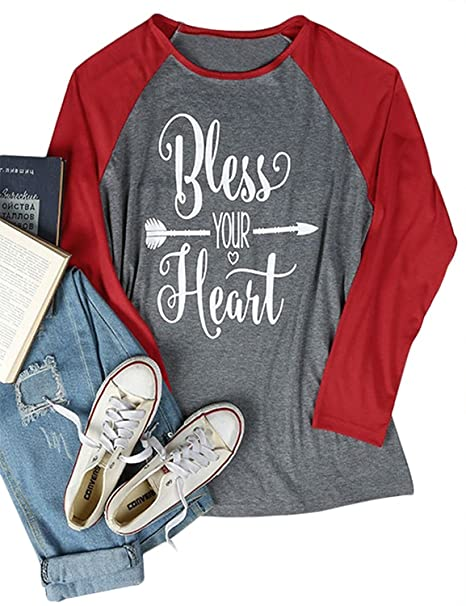 bbf436549ec Amazon.com  FAYALEQ Women s 3 4 Sleeve Bless Your Heart Printed O-Neck  Loose Raglan Baseball T-Shirt Size XL (Grey)  Clothing