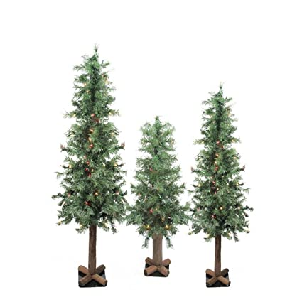 fc94f52ca0713 Image Unavailable. Image not available for. Color  Set of 3 Pre-Lit  Woodland Alpine Artificial Christmas Trees ...