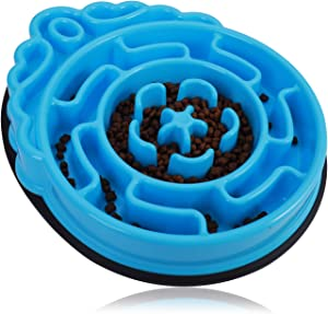 Dog Slow Feeder Bowl, Non Slip Food Puzzle Bowl, Anti-Gulping Pet Slower Food Feeding Dishes - Interactive Bloat Stop Dog Bowls - Durable Preventing Choking Healthy Design Dogs Bowl (Blue Round)