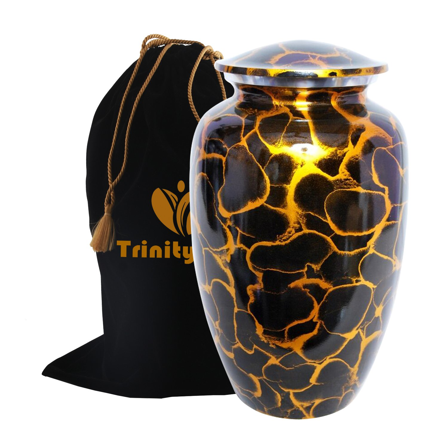 Leopard Print Cremation Urn - Beautifully Handcrafted Adult Funeral Urn - Solid Metal Funeral Urn - Affordable Urn for Human Ashes with Free Velvet Bag