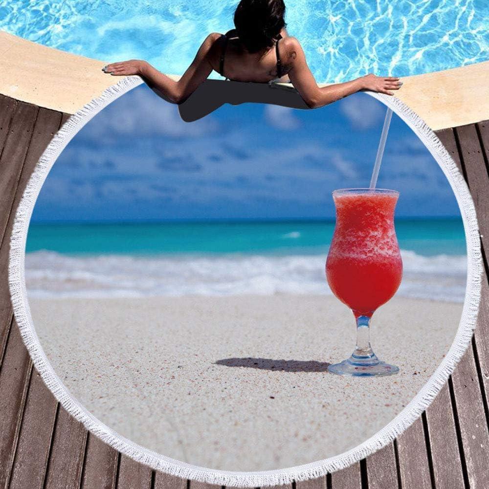 Hexiao Telo da Mare, Telo Frange Rotonda balneari, Adatto ai Piscina e Spiaggia xiao1230 (Color : A) A