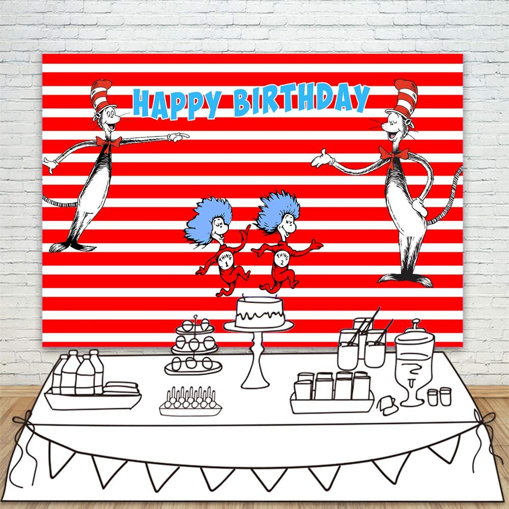 Doodle 8x10 FT Photo Backdrops,Sleepy Cat Colorful Hats Night Time Good Night Cute Animals Background for Baby Birthday Party Wedding Vinyl Studio Props Photography Baby Blue Pale Pink Pale Yellow